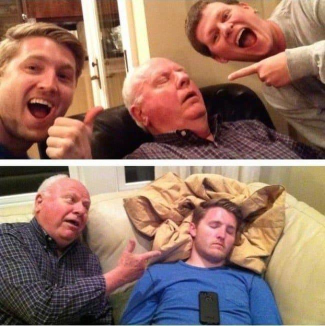 sleeping family photo