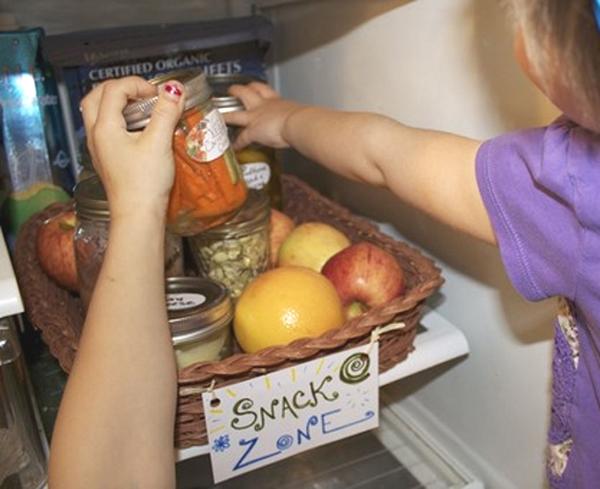 snack zone in fridge