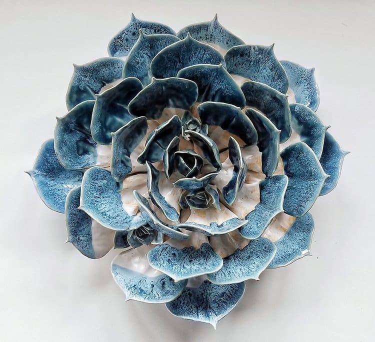 succulent clay sculptures blue and white