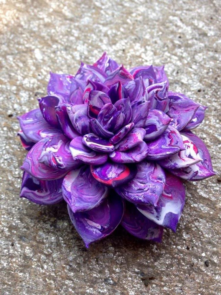 succulent clay sculptures purple marble effect