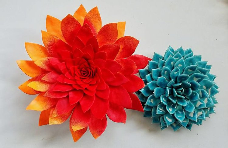 succulent clay sculptures red and blue