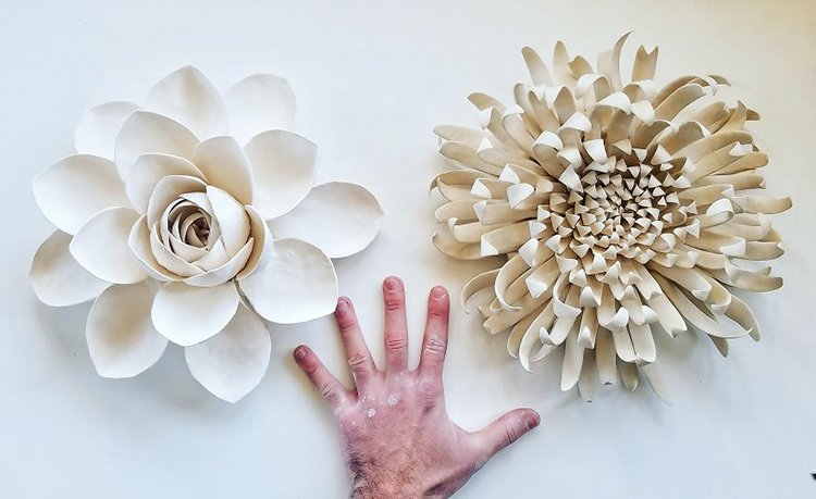succulent clay sculptures rose and flower