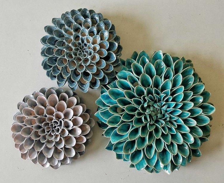 succulent clay sculptures trio