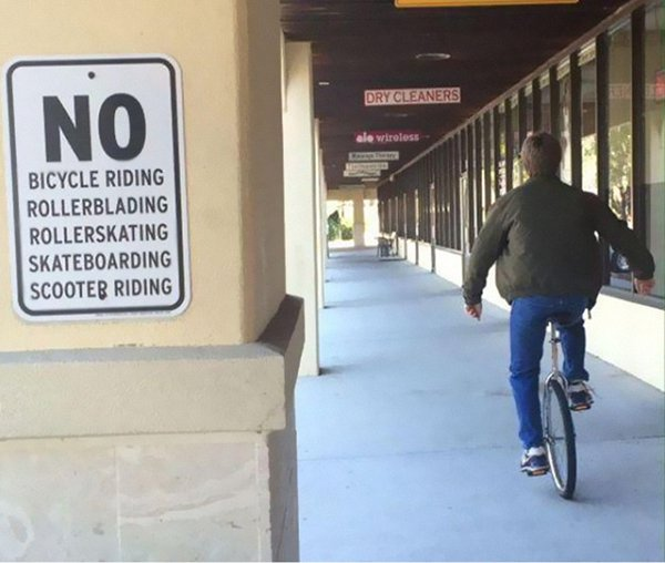 taking rules literally no riding