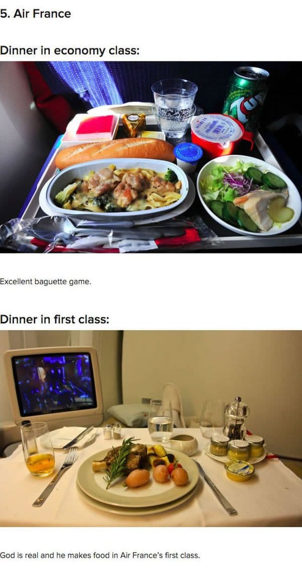 First Class Vs Economy Plane Food Air France