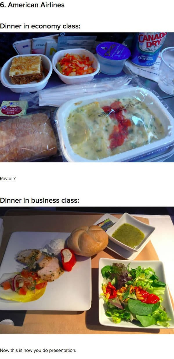 First Class Vs Economy Plane Food American airlines
