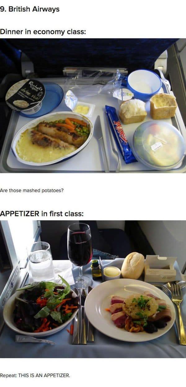 First Class Vs Economy Plane Food British Airways