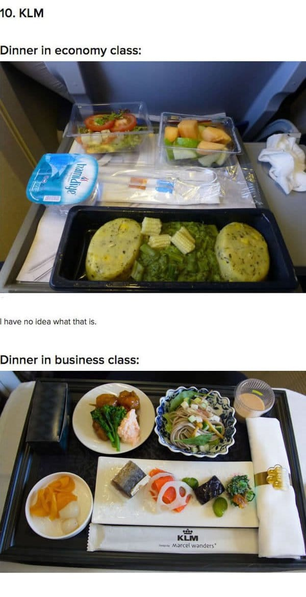 First Class Vs Economy Plane Food KLM