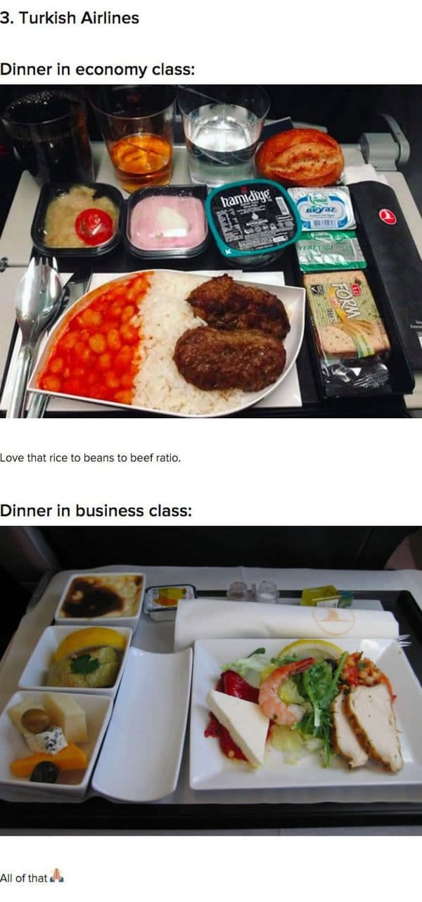 First Class Vs Economy Plane Food Turkish airlines