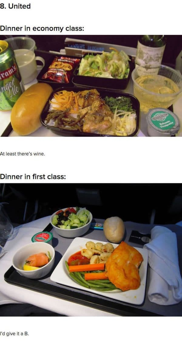 First Class Vs Economy Plane Food United