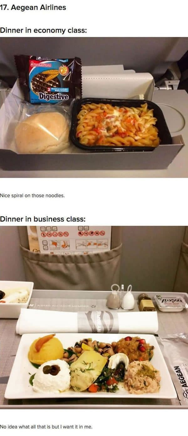 First Class Vs Economy Plane Food aegan airlines