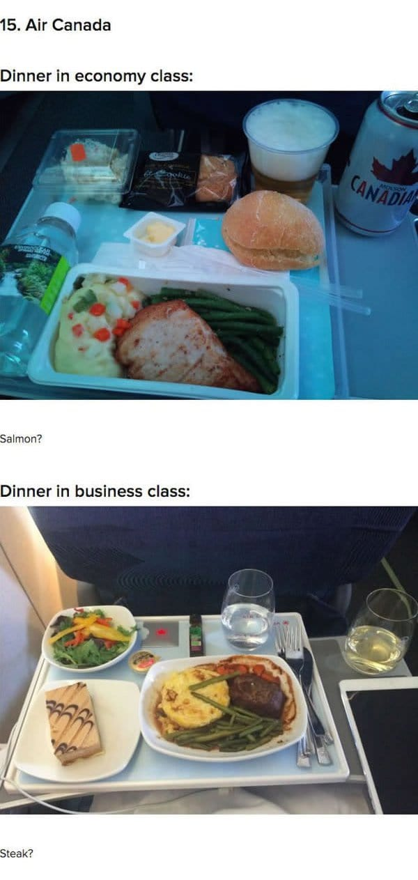 First Class Vs Economy Plane Food air canada