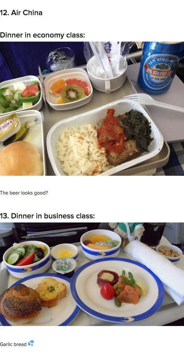 First Class Vs Economy Plane Food air china