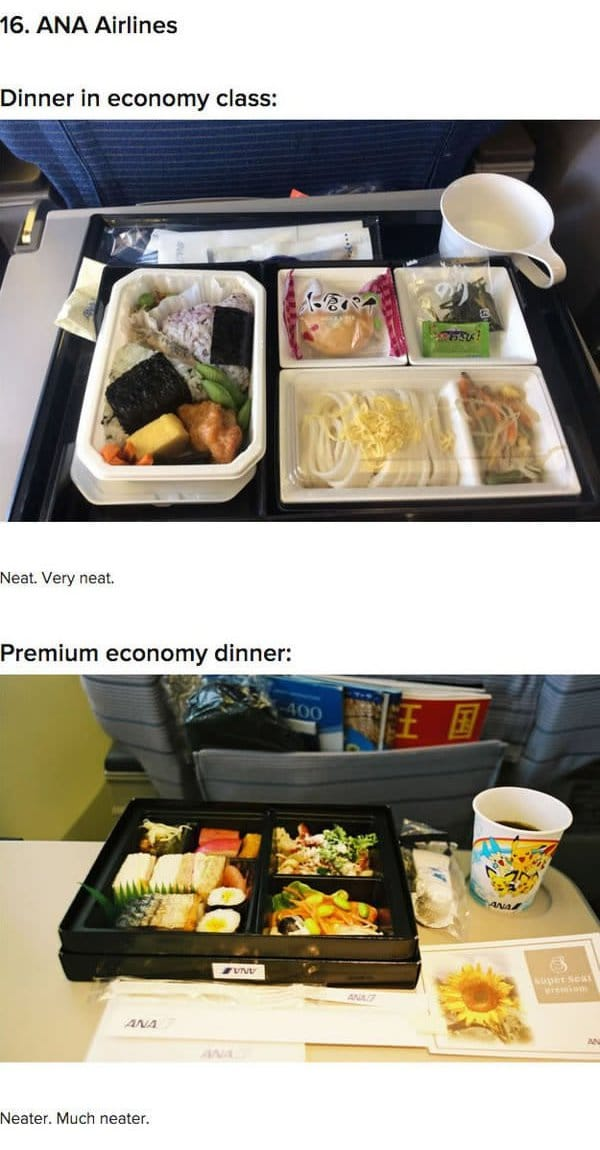 First Class Vs Economy Plane Food ana airlines