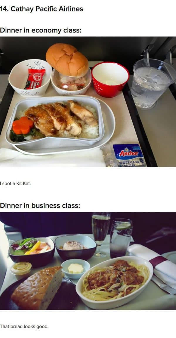 First Class Vs Economy Plane Food cathay pacific