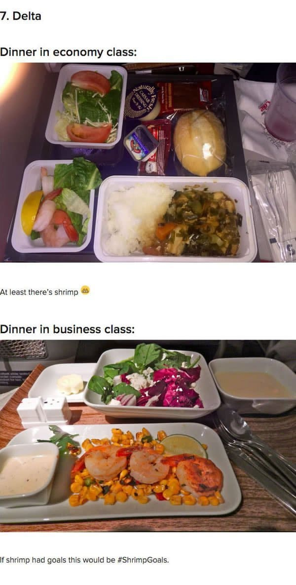 First Class Vs Economy Plane Food delta