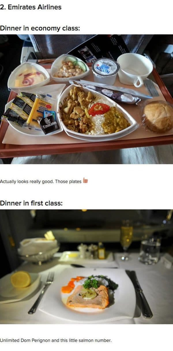 First Class Vs Economy Plane Food emirates airlines
