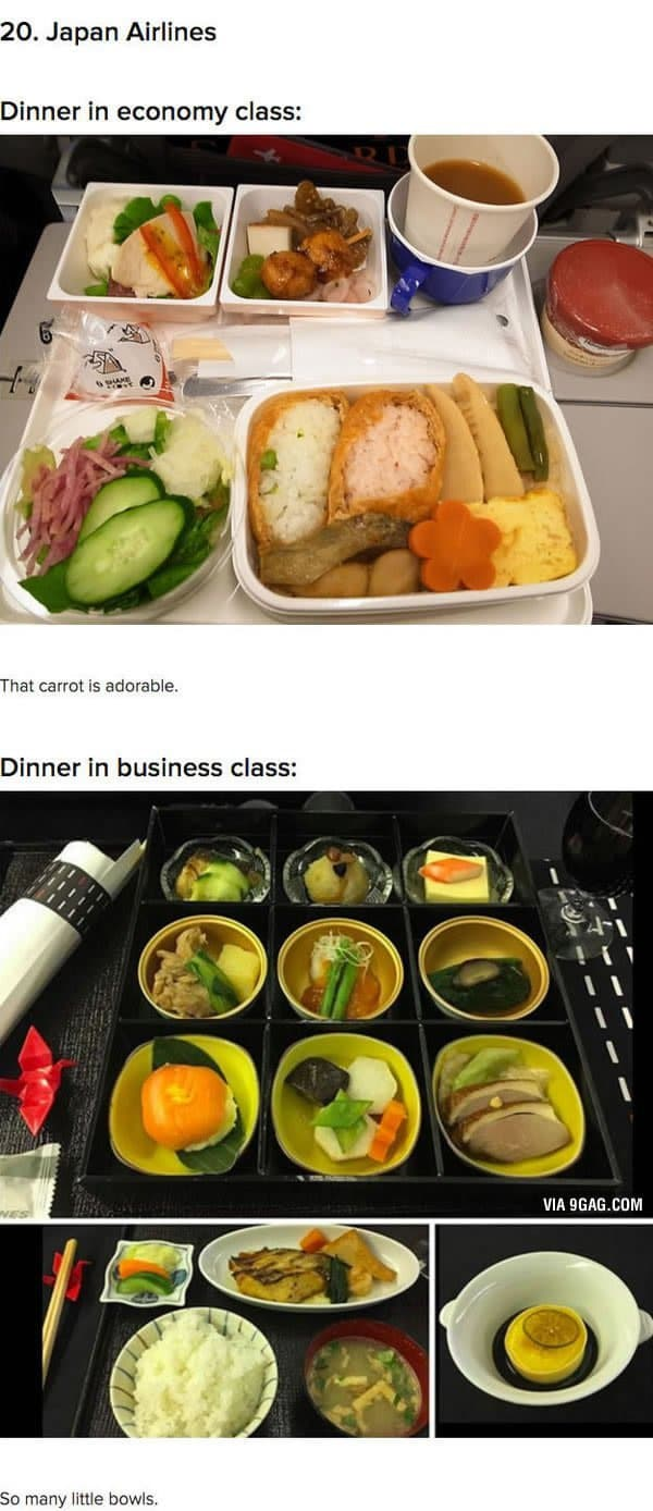 First Class Vs Economy Plane Food japan airlines