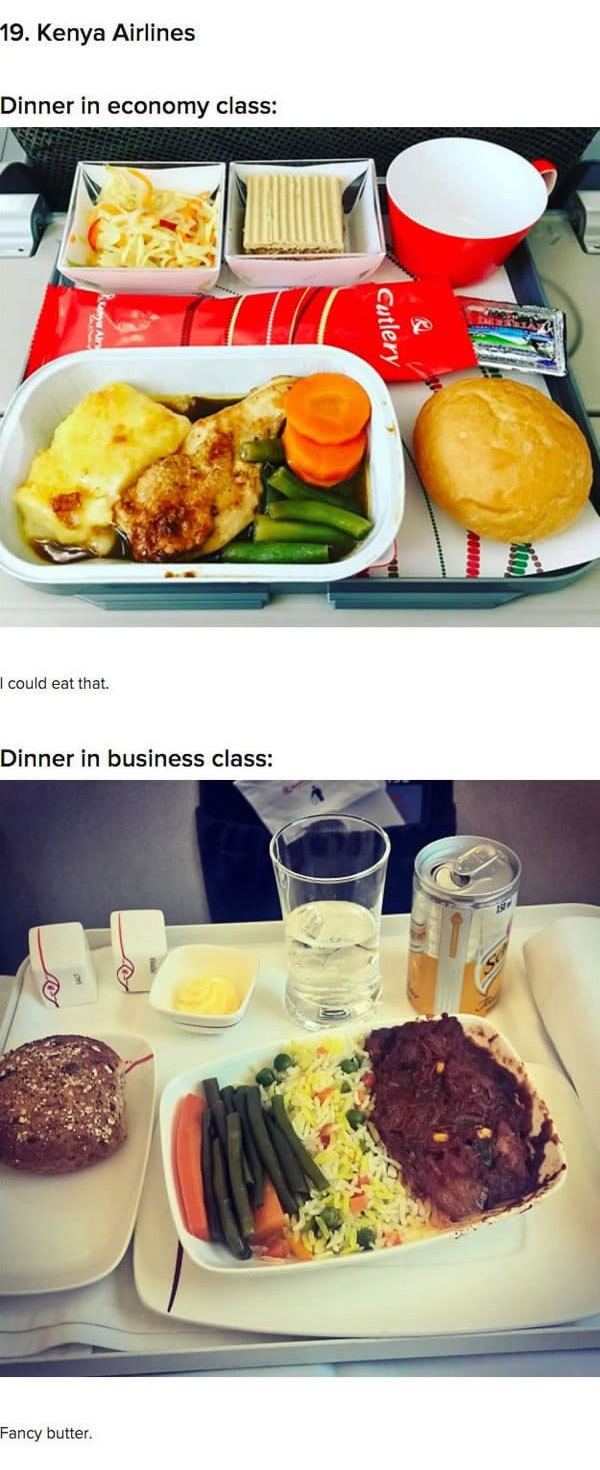 First Class Vs Economy Plane Food kenya airlines