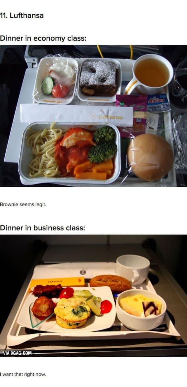 First Class Vs Economy Plane Food lufthansa