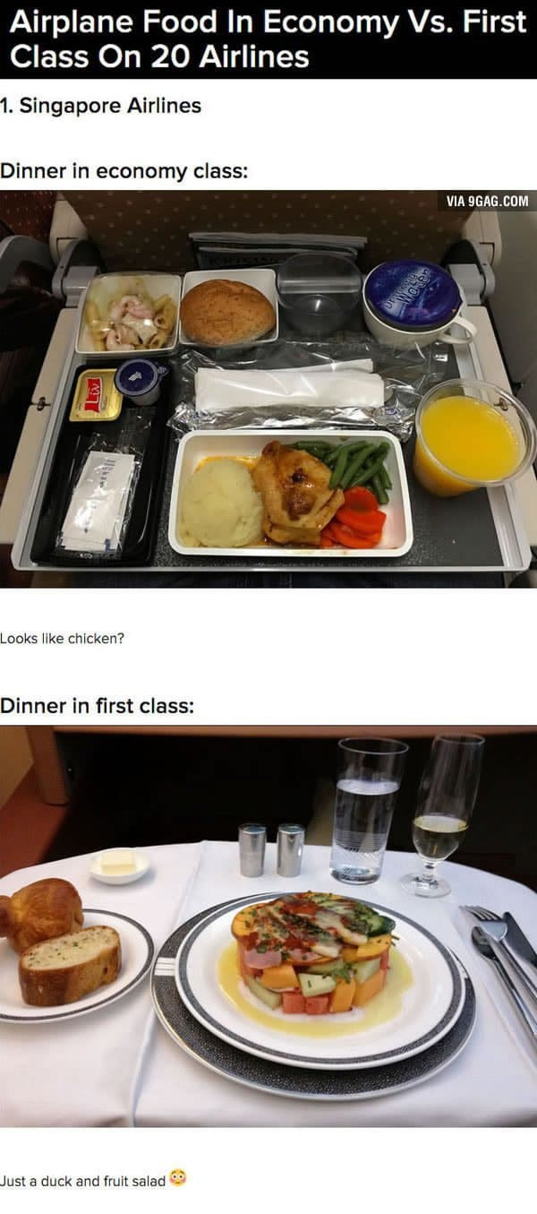 First Class Vs Economy Plane Food singapore airlines