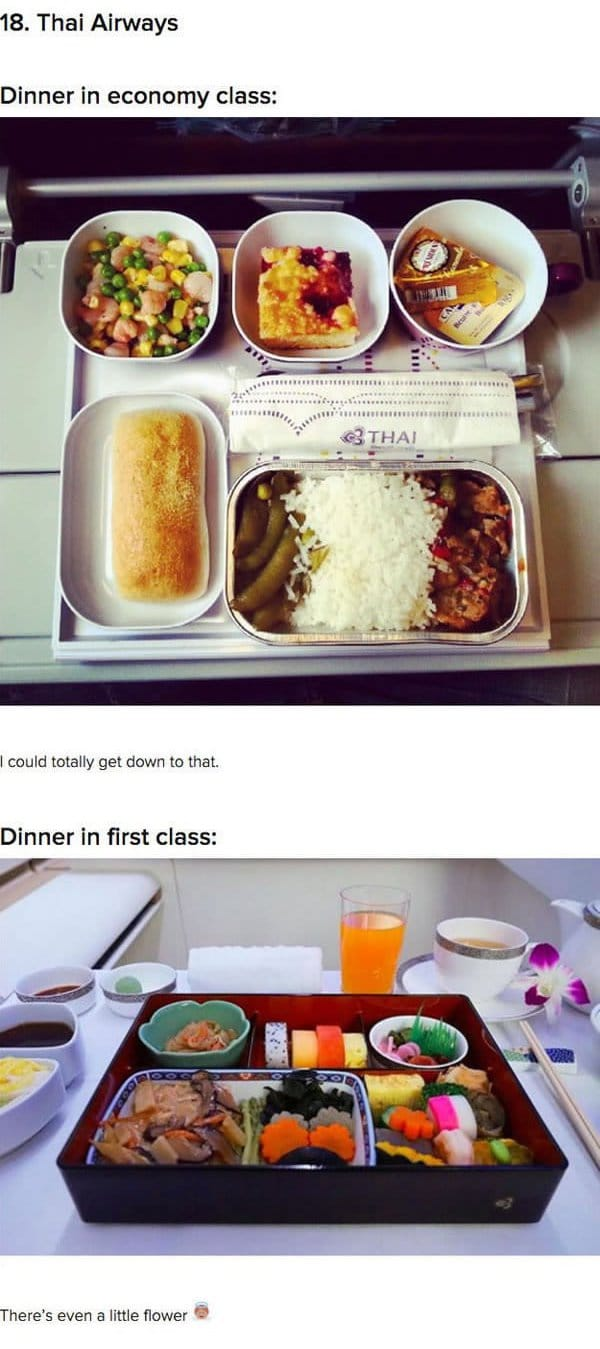 First Class Vs Economy Plane Food thai airways
