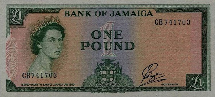 Queen Elizabeth aged 26 jamaica note