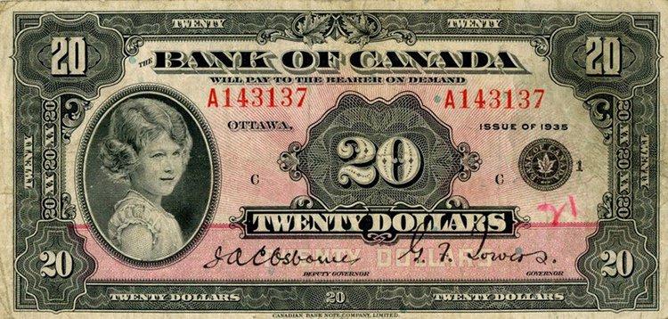 Queen Elizabeth aged 8 canada note