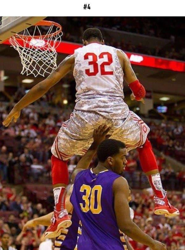 awkward sports moments basketball players hand on bum