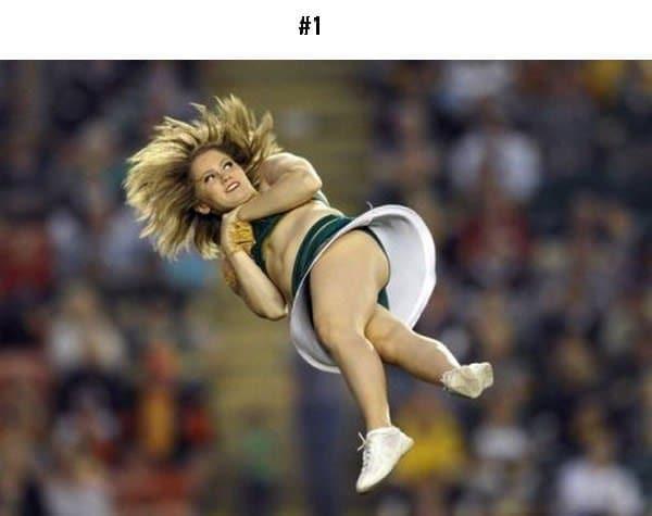 awkward sports moments cheerleader spinning