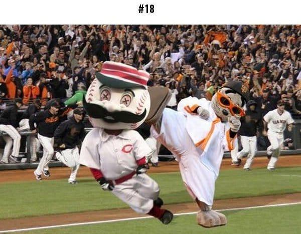 awkward sports moments mascot kick
