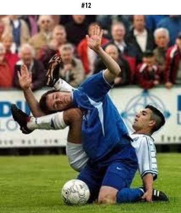 awkward sports moments players tangled up