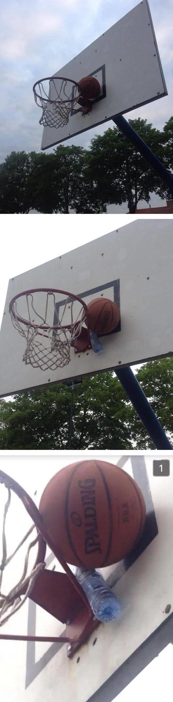 basketball-stuck water bottle also stuck