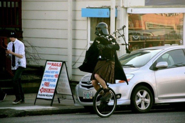 bizarre photos darth unicycle bagpipes