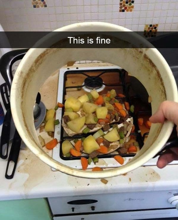 bottom of dish falls out food everywhere