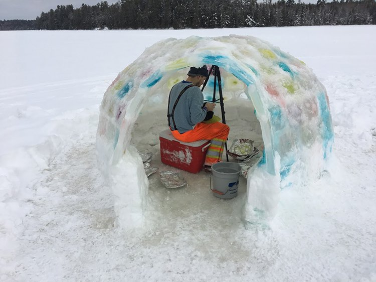 building an igloo filling the dome