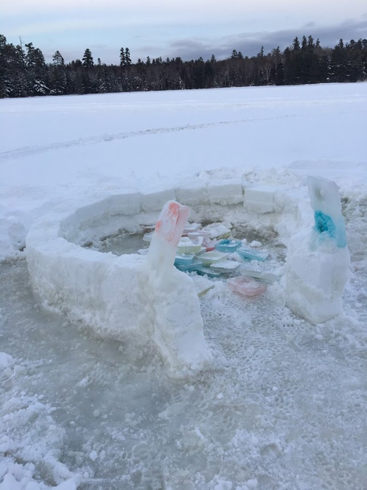 building an igloo ice slush freezing together