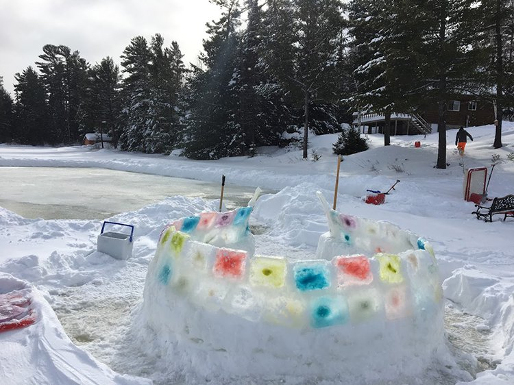 building an igloo layering up