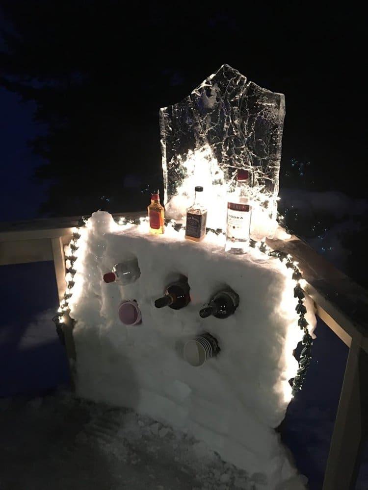 building an igloo snowbar