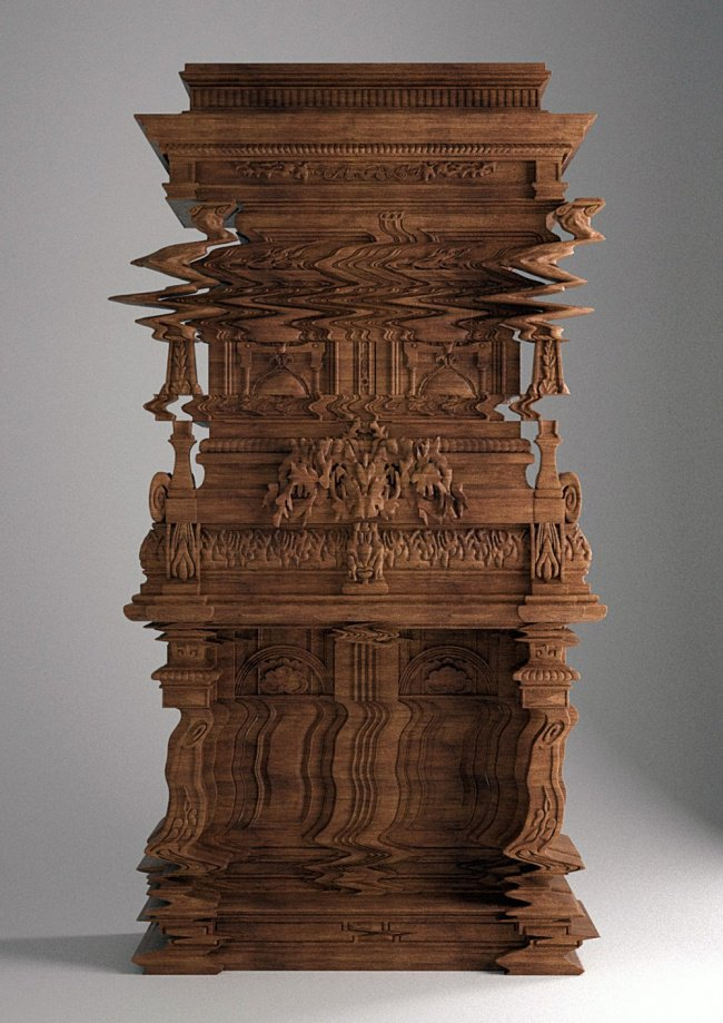 cabinet carved to look like digital distortion