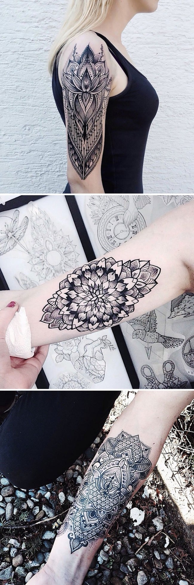 floral tattoo art jessica svartvit
