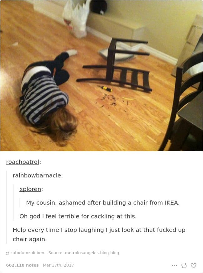 ikea chair build gone wrong