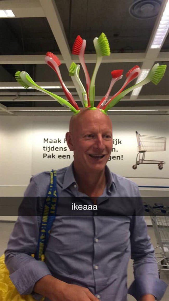 ikea toilet brushes stuck to mans head