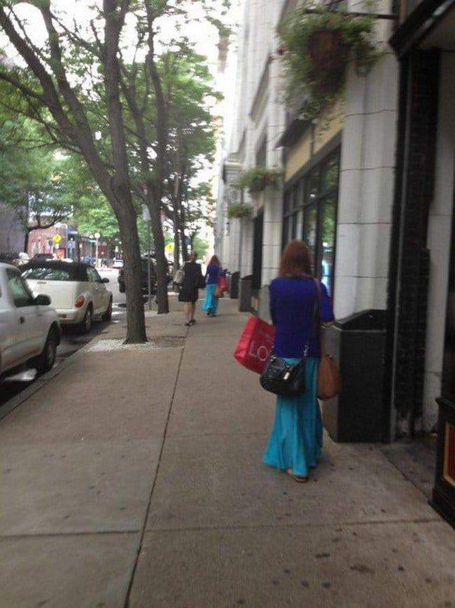matrix glitches lookalike women street