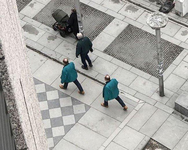 matrix glitches men similar clothes