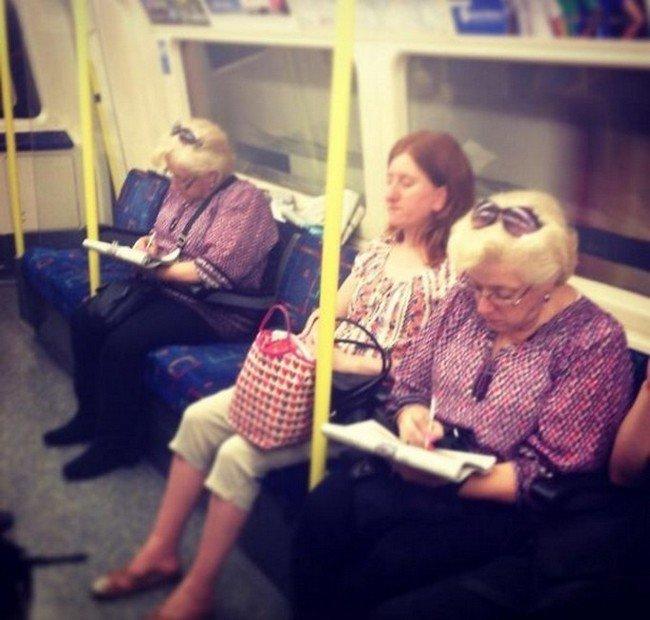 matrix glitches similar looking women sitting