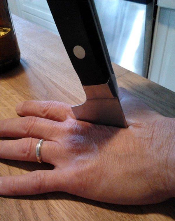 mom jokes humor knife through hand
