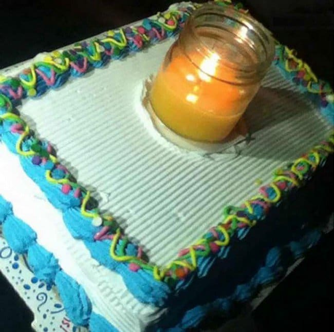 people who dont care cake large glass candle