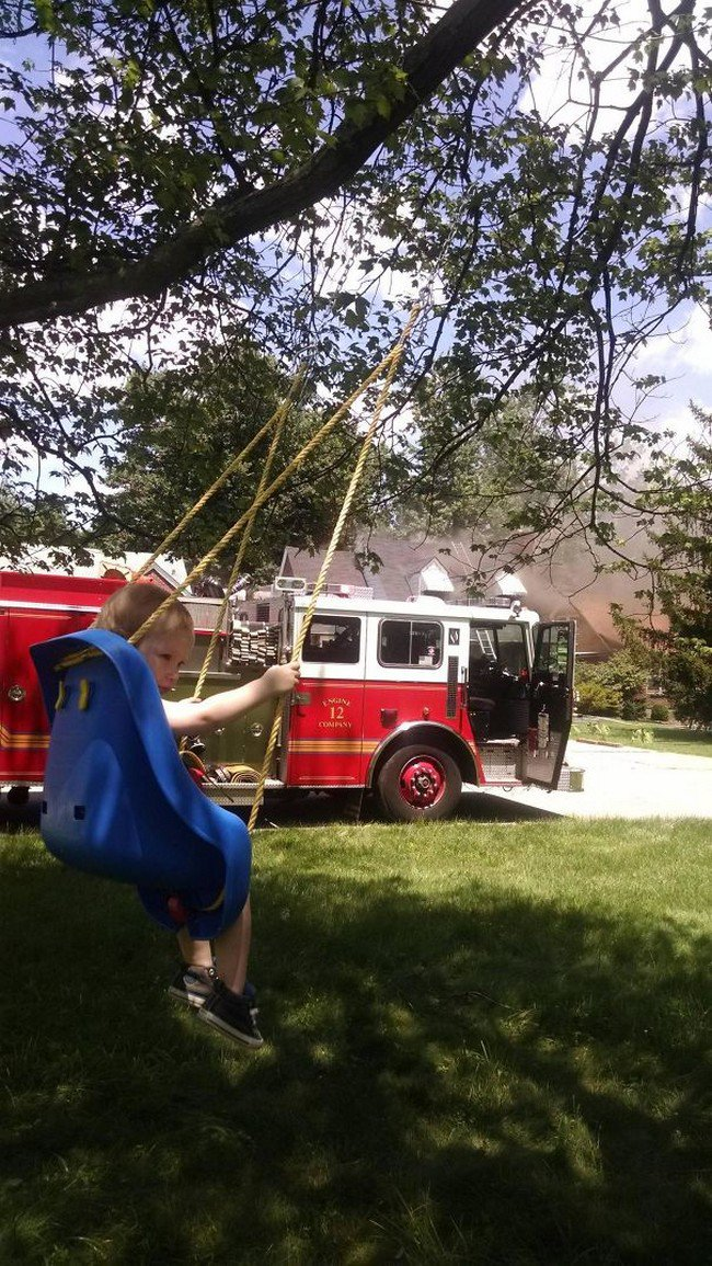 people who dont care child swing fire truck