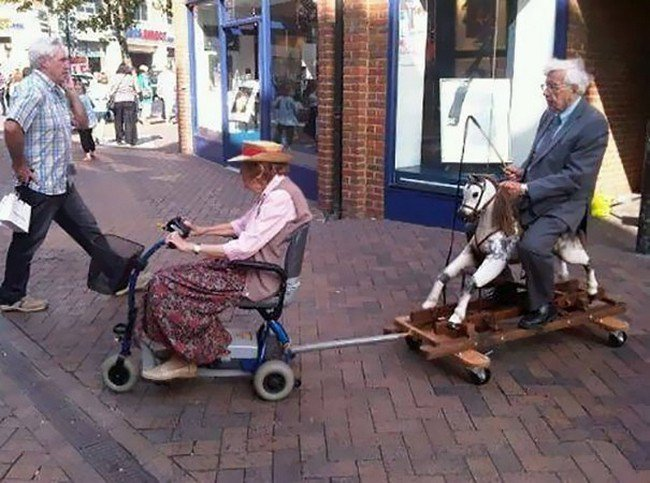 people who don't care elderly couple riding